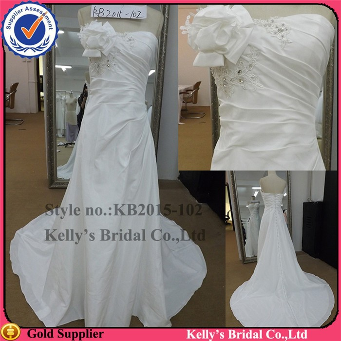 Sexy Strapless Real lebanon designer wedding dresses pleated boidice and bag button deisgn wedding dress