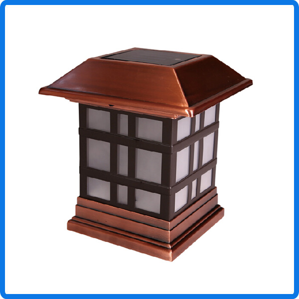Copper plated outdoor garden solar light fence post cap