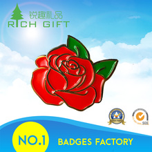 Golden supplier china colorful enamel flower pink red rose lapel pins with butterfly clip