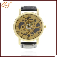 Sales business casual leather band leopard grain design men's watch