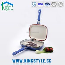 seasoned ceramic happy call double sided frying pan
