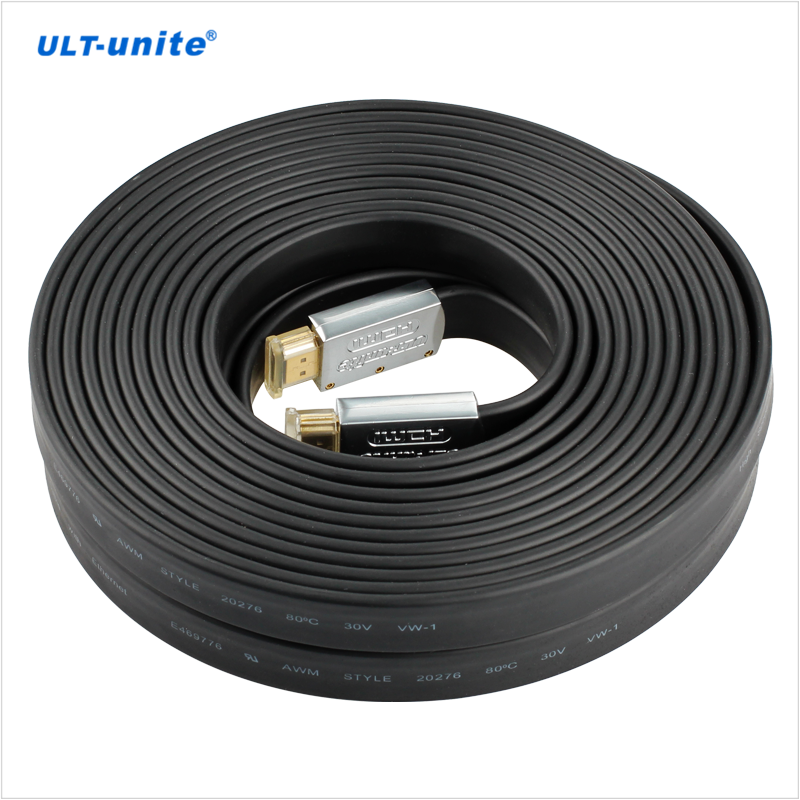 ULT-unite  Black Flat standard 19+1 4K 60Hz 10m for HDTV Projectors netbook HDMI Cable