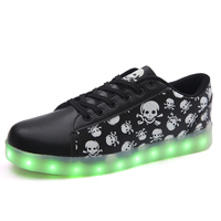 7 Colors Unisex Led Light Luminous Skull Head Shoes Printed Fashion Led Light Up Shoes For Adults