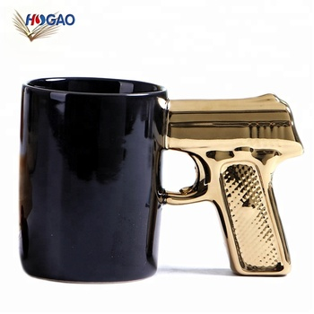 China manufacturer wholesale new unique ceramic cup creative gold and silver pistol cup gun mugs personality cup mug coffee