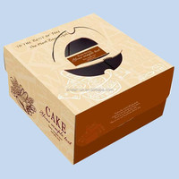 2015 Newest products Custom Design Handle Food Grade Packaging Kraft Paper Cake Box