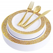Gold Plastic <strong>Plates</strong> with Disposable Plastic Silverware,Lace Design Plastic dinnerware sets