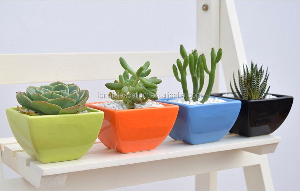 Indoor Ceramic Pots Set Of 3 Jewel Tone Flower Pots