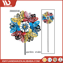 High Quality Wind Spinner Stake Metal Garden Ornaments Solar Light Decoration