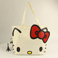 2016 new design lovely hello kitty printed canvas tote bag for girls shopping and traveling