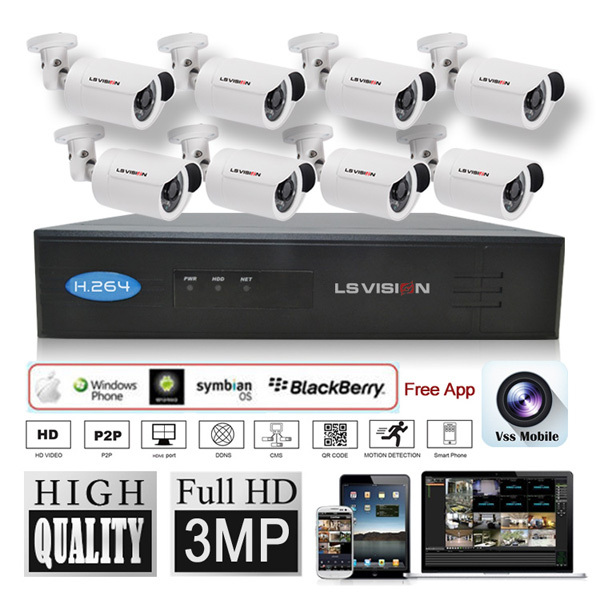 LS VISION home ip camera poe nvr kit nvr 8 channel with 8 cameras