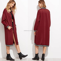 OEM Custom Bulk Buy Casual Clothes Burgundy Varsity Stripe Longline Baseball Coat Women Winter Long Jacket Coat