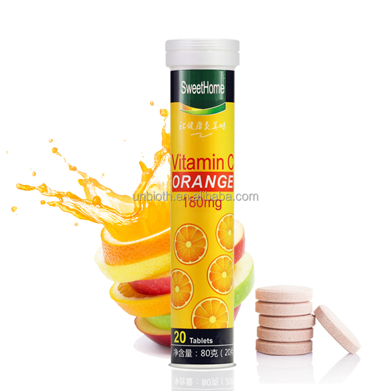 Powerful Immune support health product Vitamin C 180mg effervescent tablets Orange flavor drink