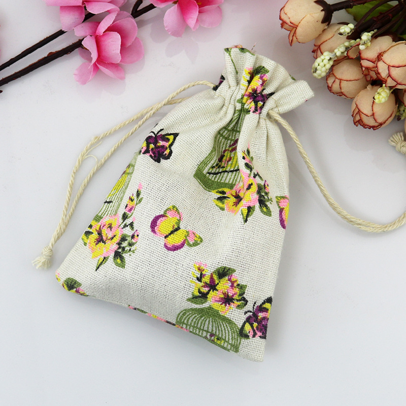 Silk print custome natural jute canvas gift bag drawstring pouch