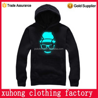 China white and blue lighting led EL flashing light hoodie with 2AA battery inverter
