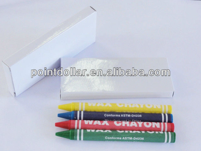 Children Wax Crayon Color Crayon Set 4 pcs Crayons packing in a White Box