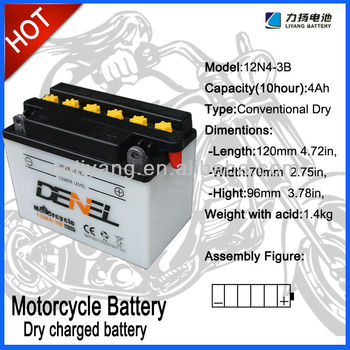 12v 4ahbattery for motorcycle,12N4-3B Dry Charged Motorcycle Battery, OEM service accpet