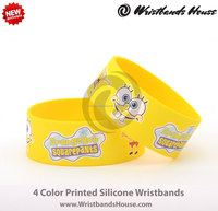 4 color printed child liked wristbands| 4 color child liked printed bands | 4 color printed silicone bracelet