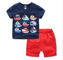 Wholesale children garments cute baby boys casual wear boat t-shirts red shorts sets trendy kids clothing sets