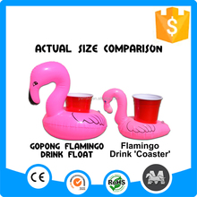 Accept customized pink flamingo inflatable floating drink holder
