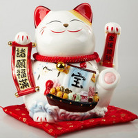 Ceramic Plutus Cat Mascot for Wealth and Luck Home Decoration Factory Outlet