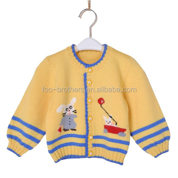 Sweater cardigan with bling bling decor kid wool sweater design for girl