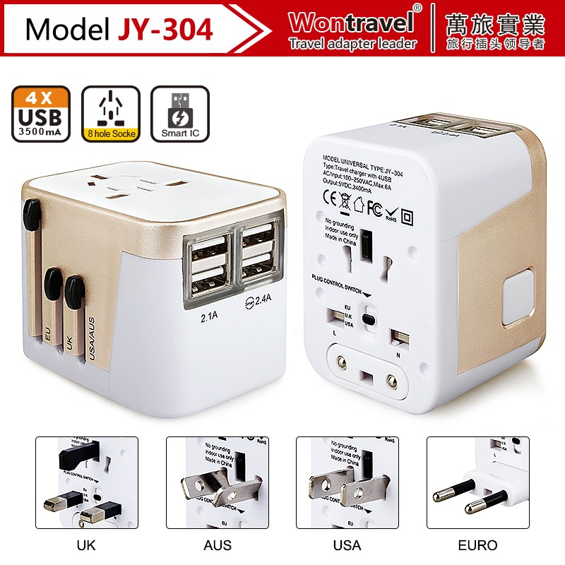 International uk usa eu au plug power adaptor multi plug usb wall outlet socket