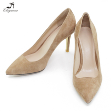 Ladies Super Comfortable Classic Office Shoes Genuine Sheep Suede leather Pointed Toe 8.5cm Stiletto Medium High Heel Pumps