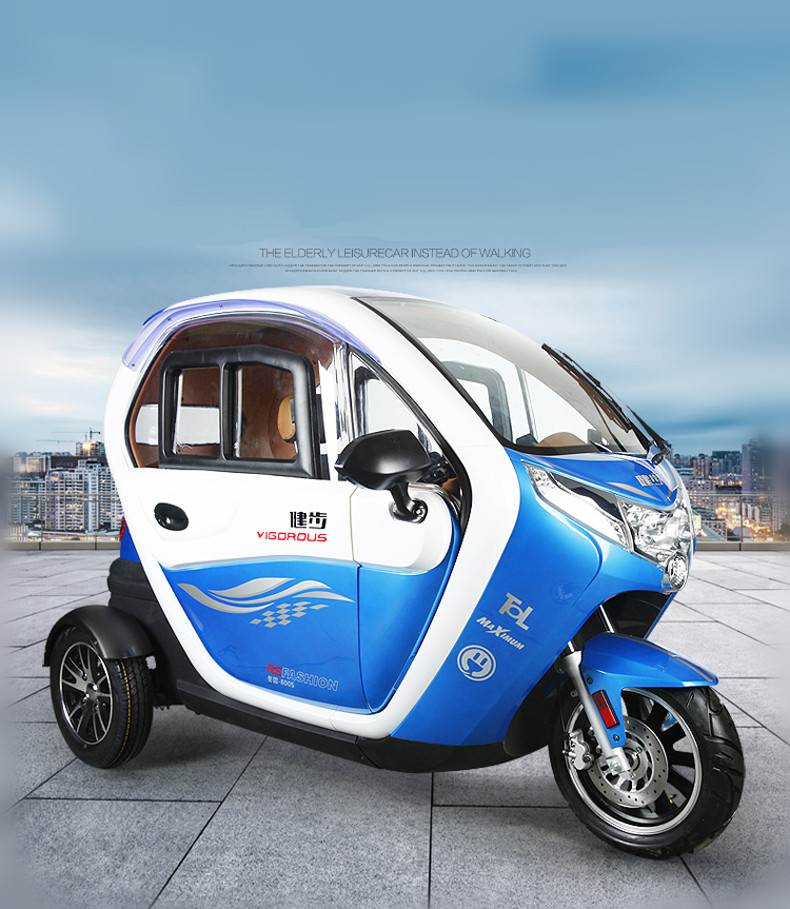 CE certification 60v 1200w full closed electric tricycle/handicapped scooter/3 wheel cabin mobility scooter