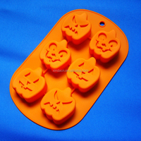 2015 New style 6 Hole Halloween Silicone Cake Mold Pumpkin Mummy Haunted house Style