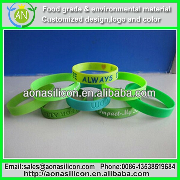 customized rubber wristbands in any color from Aona company