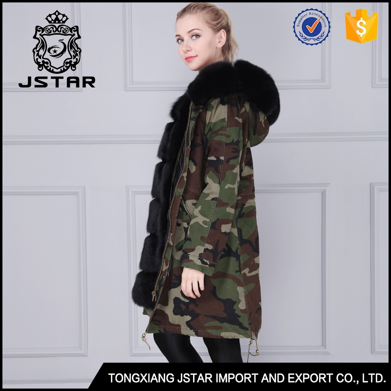 Men real fur parka jacket with black fox fur and camouflage shell