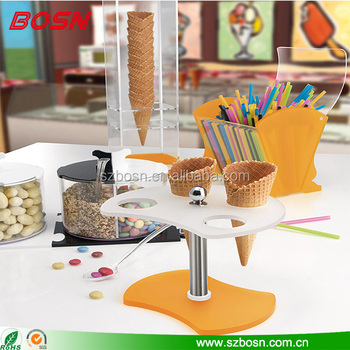 Transparent acrylic 4 hole gelato ice cream cone display freezer for counter top