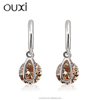 OUXI beauty tears champagne zircon 925 sterling silver pendant huggie earrings Y20187