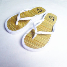 Girls Flat Bamboo Slippers Straw Flip Flops