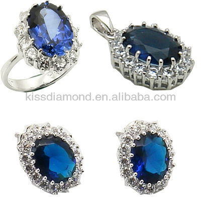 925 Silver Sappire CZ Ring Set Jewelry, Diana Ring, Kate Ring