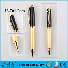 Metal ball pen golden color hotel luxury ballpoint pen copper grave barrel pen
