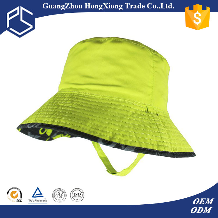 Wholesale pretty green kids plain bucket hats with drawstring