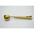 Ukraine stainless steel food grade measured golden coffee spoon with clip,cute coffee spoon