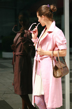 Italian soft Genuine lambskin leather trendy belted coat short sleeves color pink