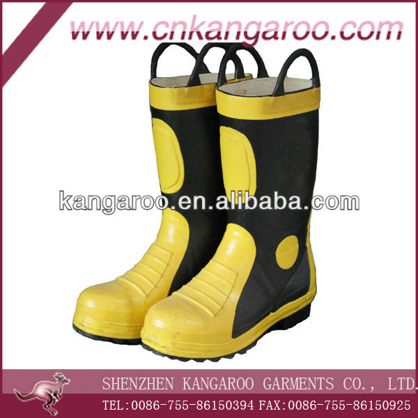 yellow/black flame-retardant rubber firefighting boots with steal cap and sole; firefighter's heat insulation protective boots