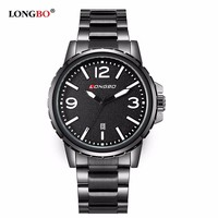 Top seller on aliexpress.com Longbo brand name black watch