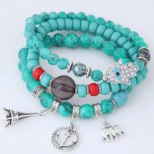 Bohemian Style Plastic Beads Bracelet Sets Anchor Charm Bracelet Jewelry For Lady