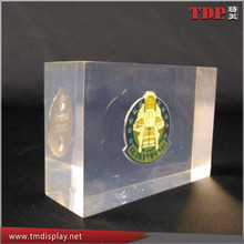 Clear Acrylic Crystal Souvenir Coin Paperweight Lucite Coin Embedding Plexiglass Coin Paperweight