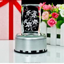 3d Laser Crystal flower with LED light base for Wedding Gift