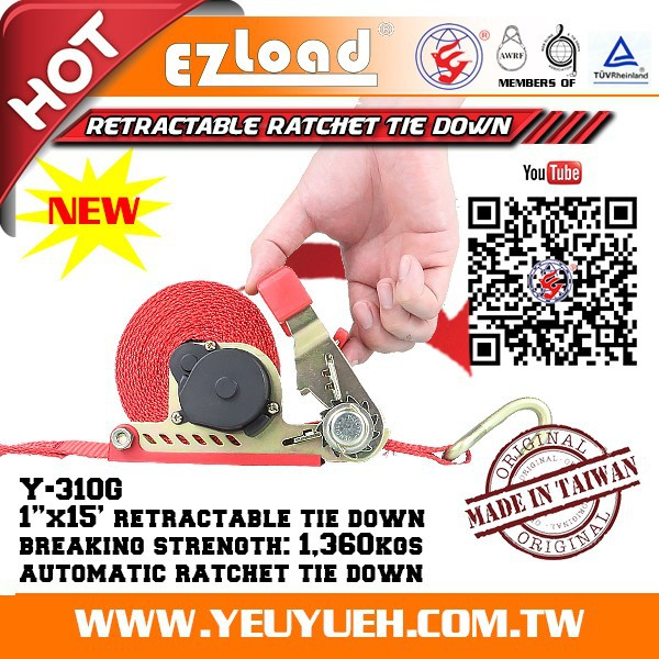 1 Inch Heavy Duty Retractable Lashing Straps for 3 Wheel Motorcycle