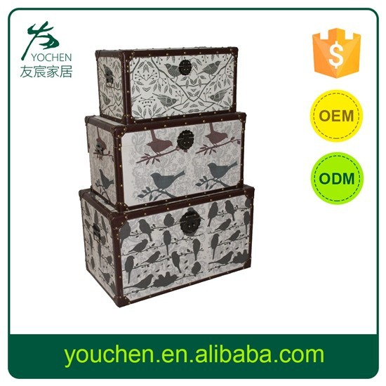 Elelgant S/3 Wooden Box For Home Storage Case, Decorative Wooden Storage Trunk Bird Design, MDF With Canvas Printing Logo Chest