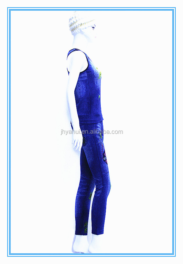Fashion girls fake jeans top and pant sport yoga clothes set