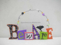 "HALLOWEEN BAT SIGN PLAQUE ""BEWARE"" ADORABLE DECORATION"