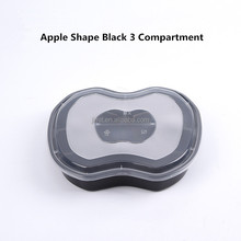 Food grade disposable customized logo take away lunch box set black 3 divides apple shape