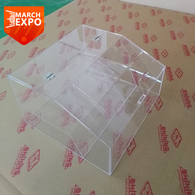 Custom made fancy dry food box clear acrylic bulk candy <strong>display</strong> with lid